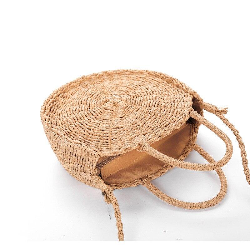 Bolsa de Palha Redonda decorada com Pompom