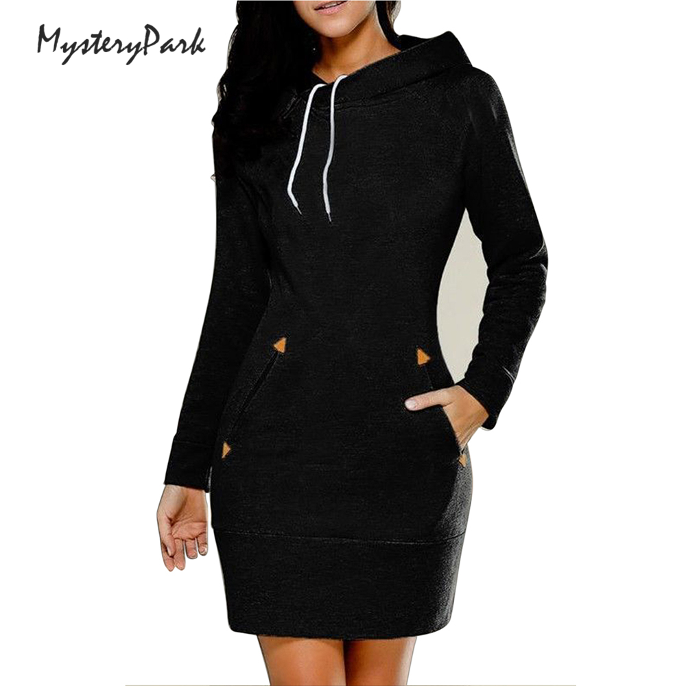MysteryPark Women Dresess 2017 New Autumn Winter Hooded Long Sleeve Vestido De Festa Dress Girls Bandage Solid Dresses Plus Size