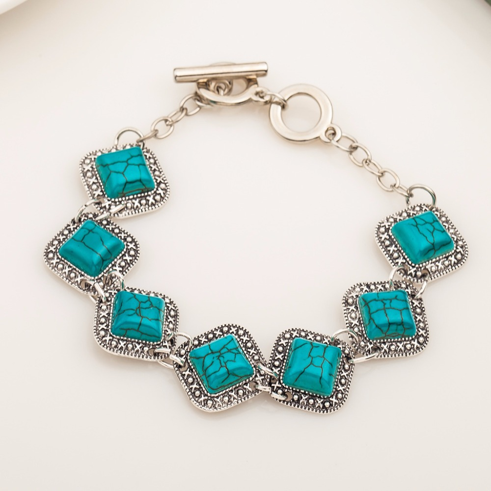 Newest Classic Square Green Turquoises Bracelet Women Vintage Jewelry Trendy Silver Color Chain Link Bracelets Good Quality