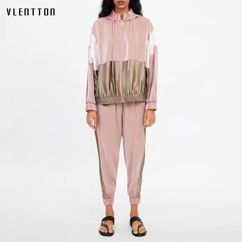Tracksuit Women Pink Spliced Two Piece Set Outfits For Women Hooded Baseball Bomber Jacket Tops And Jogging Casual Pants Suits