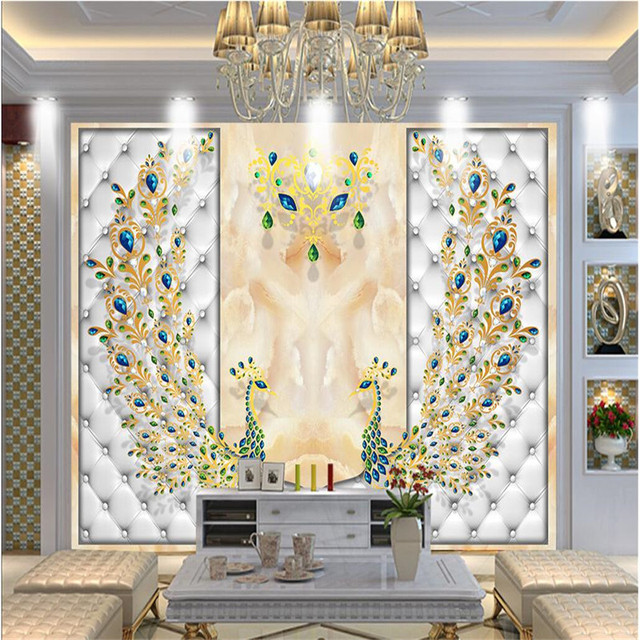 Wonderful Home Decor Wallpaper For Living Room Peacock Soft Pearl Ornament Flowers  Wall Painting Photography Background Modern