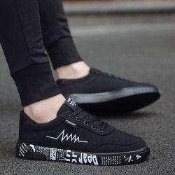 Мужские парусиновые кроссовки, черные повседневные кроссовки с низким берцем на весну и лето