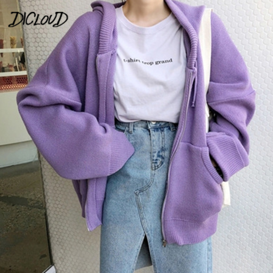 Korea Loose Sweater Woman 2018  Autumn Simple Solid Color Hooded Knit Cardigan Elegant Bat Sleeve Long Cardigan Winter Coat