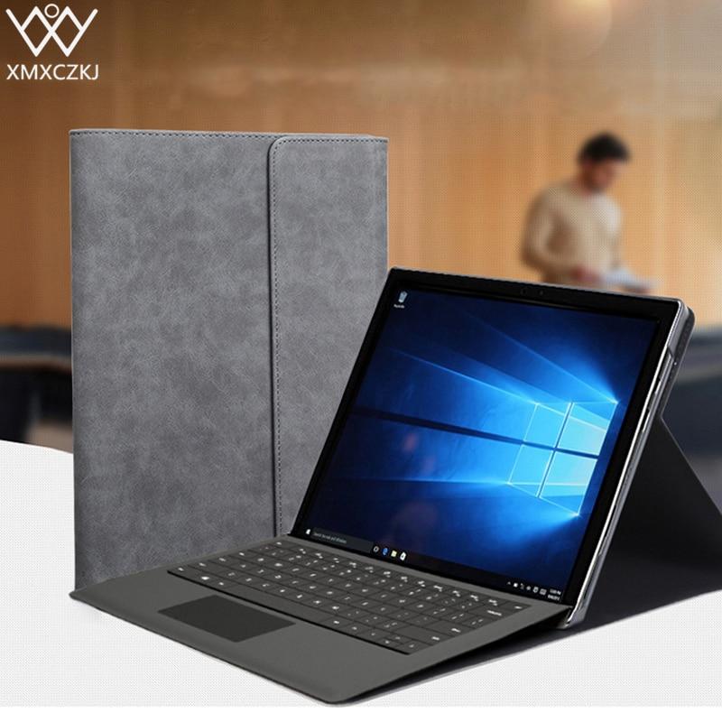 XMXCZKJ di Vibrazione di Lusso Della Copertura di Caso Per Microsoft Surface Pro 4 5 3 Supporti tablet Cuoio DELL'UNITÀ di elaborazione di Funda Copertura Astuta Per Superficie pro4 Pro5