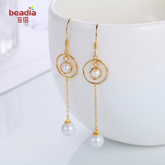 fef6bfc56 New Double Layer Pearl Gold Charm Earring Modern Girl Jewelry Pure 925  Sterling Silver Hook Earring