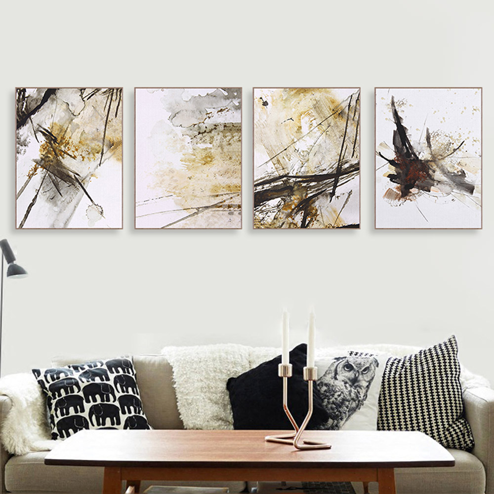 Modern Abstract Chinese Ink Splash Canvas A4 Art Poster Print Wall Picture Painting No Frame Vintage Retro Living Room Decor