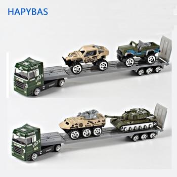 سبيكة ناقلة سيارات 1 64 شاحنة الجيش مع سيارات المركبات سبيكة طراز سيارة من المعدن الناقل لعبة هدية جمع