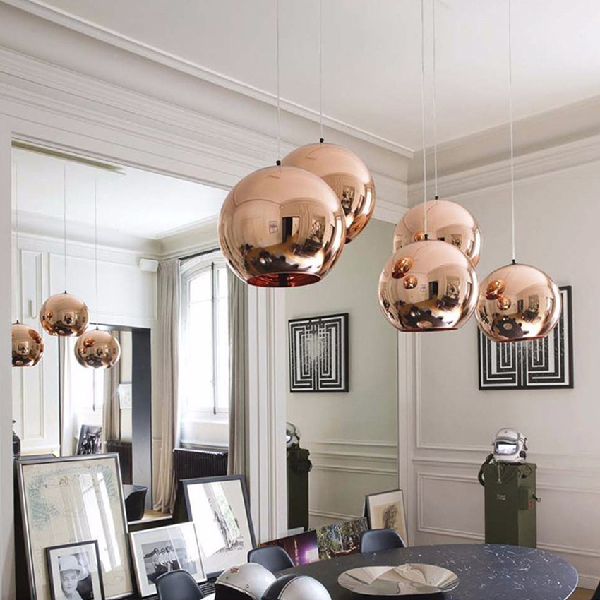 Modern Plating Glass Ball Pendant Lights Copper Sliver Gold Red Dia 15 45cm Hanging Lamp For Kitchen Restaurant Lighting In From
