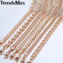 Womens Mens Necklaces 7Pcs/Lot 585 Rose Gold Curb Weaving Chains Necklace for Women Men Fashion Wholesale Jewelry 50cm CNN1A