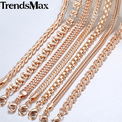 Women's Men's Necklaces 7Pcs/Lot 585 Rose Gold Curb Weaving Chains Necklace for Women Men Fashion Wholesale Jewelry 50cm CNN1A