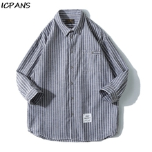 ICPANS Mens Shirt Japanese Trend Short Sleeve Tops Seven Striped Casual