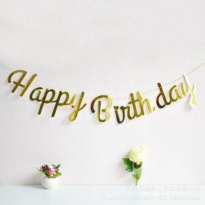 Image 4 - Różowe złoto dekoracja urodzinowa Banner pierwsze pierwsze urodziny chłopiec dziewczyna Party dzieci dorosły trznadel tkaniny flagi Garland jeden rok