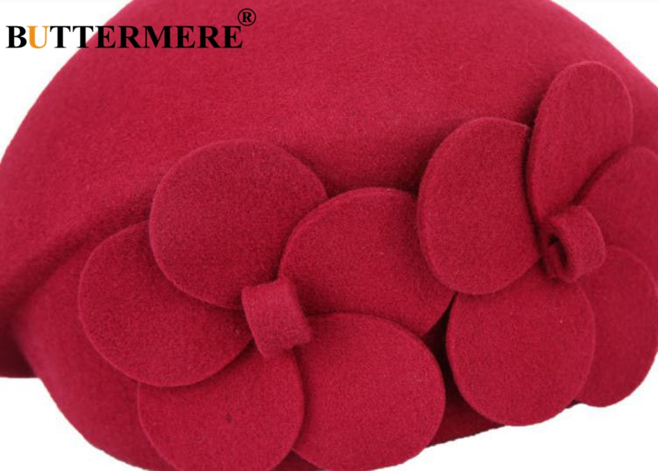 BUTTERMERE Elegant Hats For Ladies Wool Red Fedoras Flower Grace French Berets Women Cap Solid Warm Autumn Winter Felt Hat Black 21