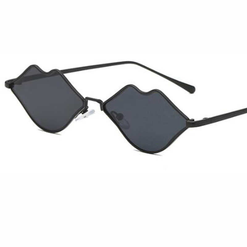 2018 nouveau Designer marque de luxe rouge lunettes de Soleil hommes métal cadre lèvre Style petit rétro lunettes de Soleil femmes lentille plate Lunette Soleil