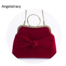 Angelatracy 2018 Velvet Women Tote with Bow Burgundy Evening Handbag Black Lady for Wedding Frame Bag Chains