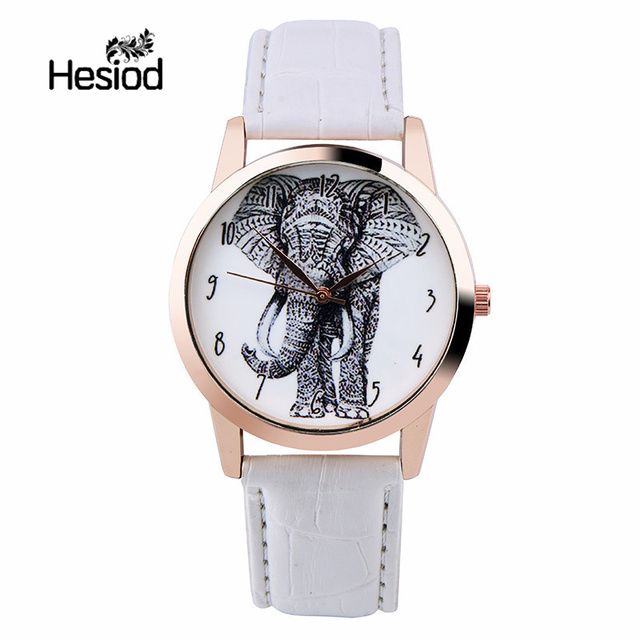 Hesiod Luxury Black/White/Brown Leather Women Dress Watches Wristwatch Elephant