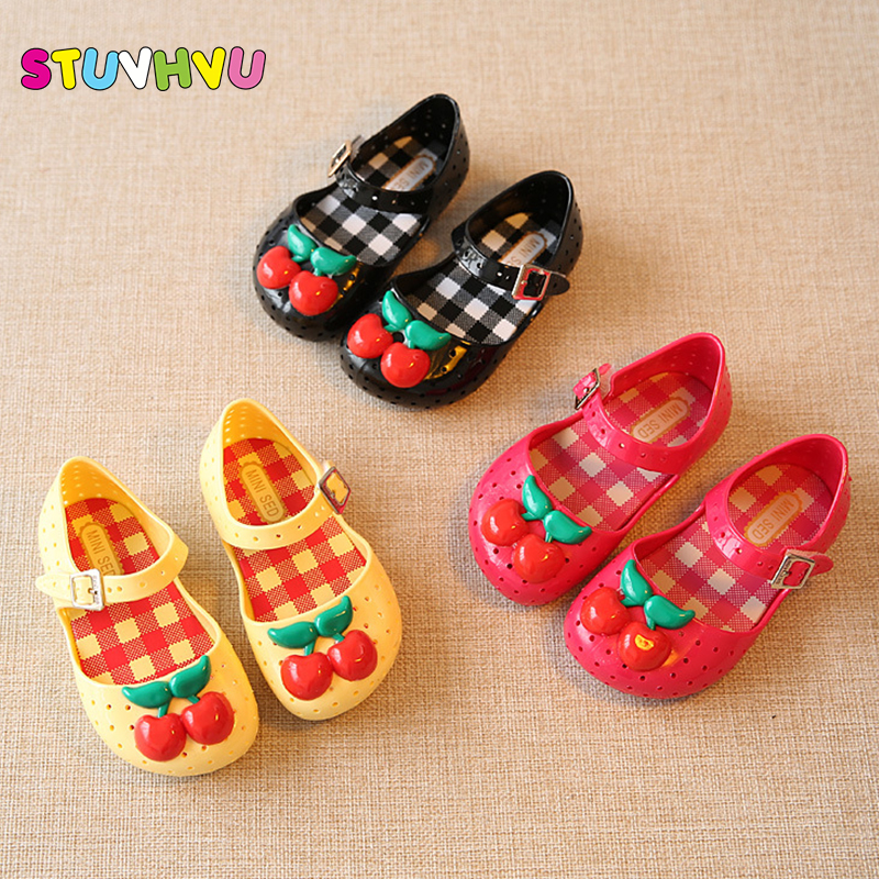 2017 kids Girls sandals mini sed jelly shoes satin cherry PVC soft outsole children sandals boys Rain boots14-16.5cm