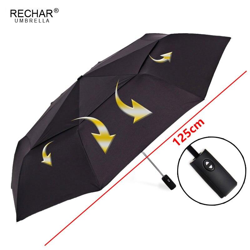 RECHAR marque grande qualité automatique Double couche parapluie pluie femmes 3 pliant coupe-vent grand 125 cm parapluie extérieur hommes femme