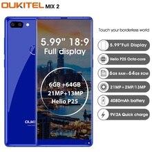 Dédouanement Oukitel MIX 2 4G Smartphone Android 7.0 Helio P25 Octa Core 6G 64G 5.99 «FHD 18:9 identification d'empreintes digitales de téléphone portable