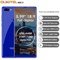 CLEARANCE Oukitel MIX 2 4G Smartphone Android 7.0 Helio P25 Octa Core 6G 64G 5.99 FHD 18:9 Mobile Phone Fingerprint ID