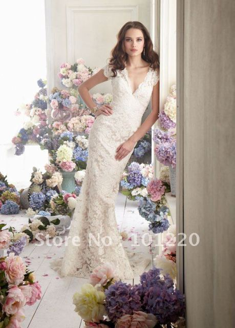 2012 Fall Sexy V Neck Modified A line Lace Bridal Gown Cap sleeve Sheer Back Sweep Train Wedding Dresses