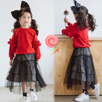 2019 Spring Teenage School Costume 2pcs Toddler Baby Girls Red Tops Big Girls Outfits 8 10 12 T shirts Sweatshirts + Plaid Skirt