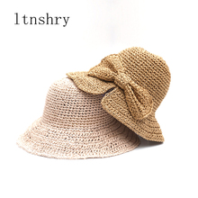 Womens Summer hat sun cap handmade straw shading for ladies bow foldable artistic Holiday Beach Hat Breathable