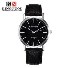 Натуральная kingnuos модные Повседневное мужские Для женщин наручные часы Простой любители смотреть кожаный ремешок кварцевые пара Часы femino Relogio Новый