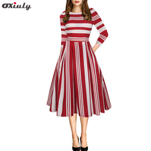 Oxiuly 2018 Autumn New Dress Women Striped Dresses Round Neck Casual Fashion Empire Knee Length  Vestidos de Fiesta