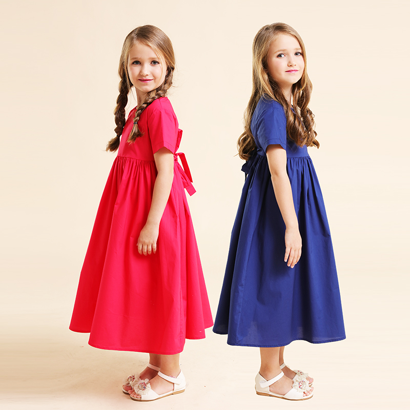 Summer family clothes children super cotton high waistline loose dress kids mom baby girl women mother daughter matching dresses