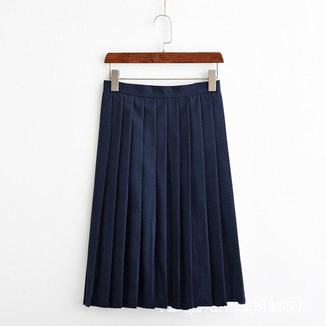 59a5a38c2a Japonés JK uniforme Universidad estudiante Falda plisada linda mujer  marinero uniforme escolar alta cintura falda para