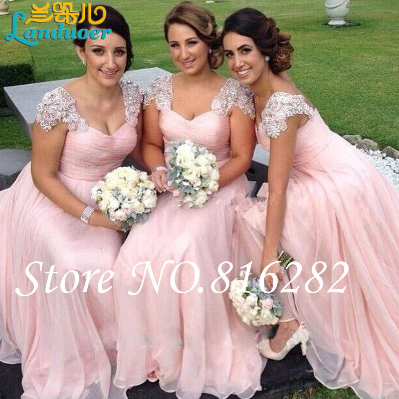 2015 Stunning Bridesmaids Dresses Blush Pink Bridesmaid Dress for Wedding Party Cap Sleeves Crystals Long Maid of Honor Gowns