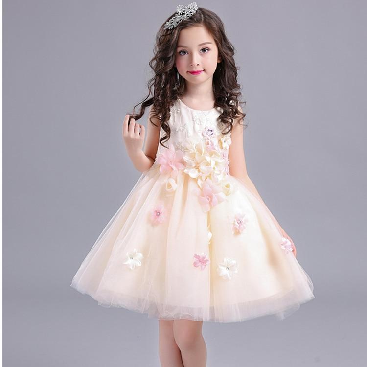 Buena calidad de alto grado 2017 nueva summer Girls Kid 3D flor vestido de encaje cómodo lindo bebé Ropa de Niños Ropa