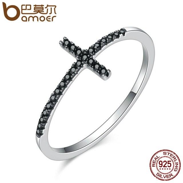 BAMOER Popular 925 Sterling Silver Faith Cross Shape Finger Rings for Women ,Bla