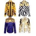 Медуза рубашка весна осень Harajuku Медуза золотая цепь/Шиповник печати рубашки Ретро цветочные свитер Мужчин с длинным рукавом рубашки