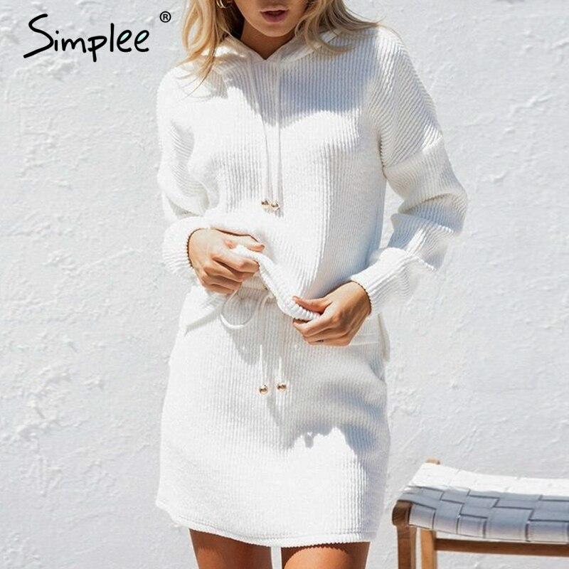 Simplee два кружева до повседневный костюм платье Женщины Плюс Размер Хлопок Белый Осень трикотажное платье оверсайз толстовка женская