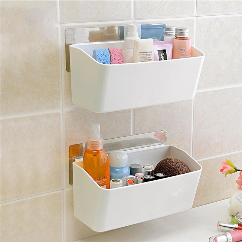 Bathroom Wall Rack Kitchen Plastic Wall Basket Holder for Shampoo ...