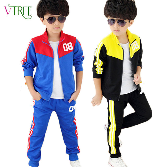 V-TREE 2016 spring teenage boys clothing set zipper sports clothes for boys children tracksuit kids sport suit
