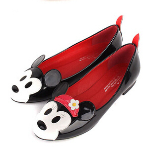 Mickey Mouse sólidos Toe rodada mulheres Flats marca sapatilhas fundo macio sapatilhas casuais