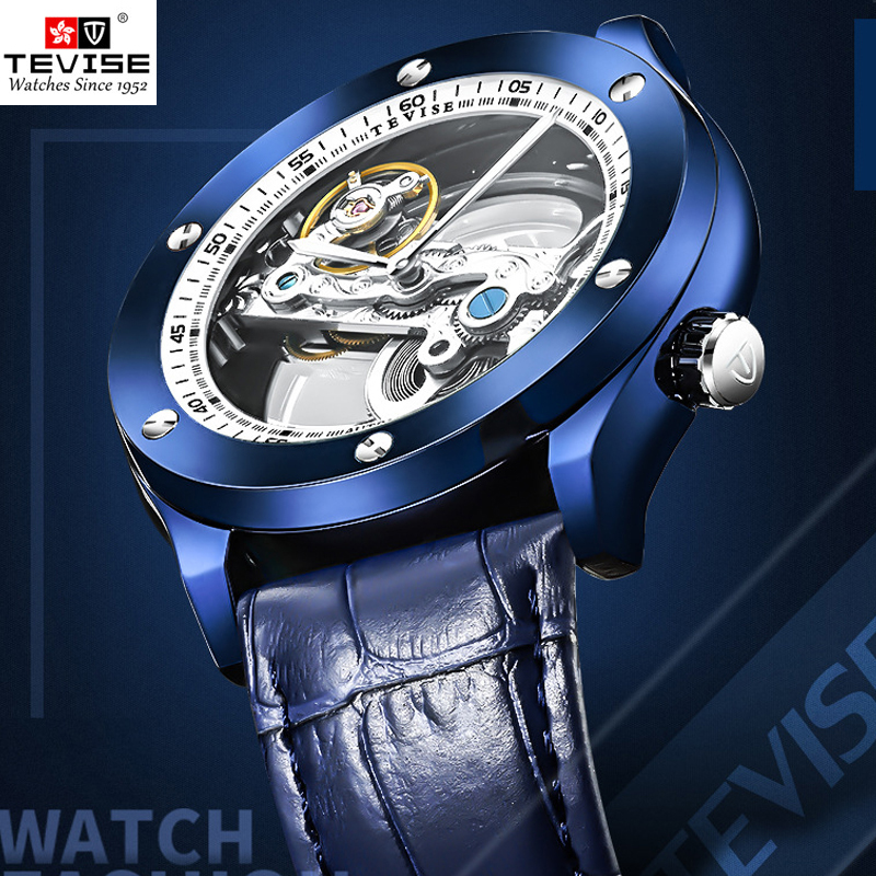 TEVISE montre homme Transparent montre Automatique Hommes Mécanique Montres 2018 Mode Lumineux Imperméable À L'eau montre-Bracelet En Cuir Horloge
