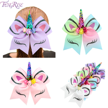FENGRISE  Unicorn Horn Hairband Cheer Bows For Girl Gifts Birthday Kids Favor Party DecorUnicorn Supplie