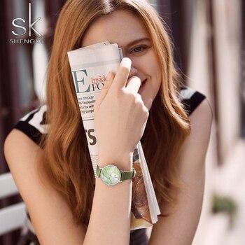 Shengke Nuevos Relojes De Mujer Hojas Creativas De Verano Reloj De Pulsera Verde Cuarzo Movimiento Japonés Regalo Cuero Zegarek Damski