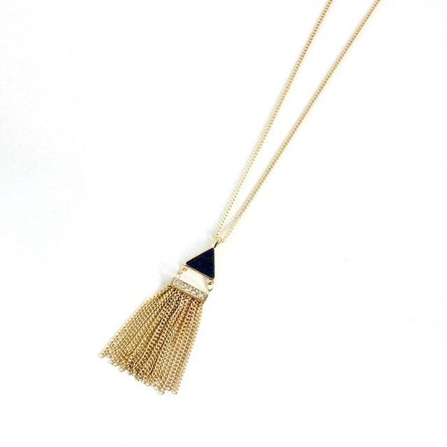 Купить кисточка золотого цвета chicvie ожерелье с кулоном из натурального картинки