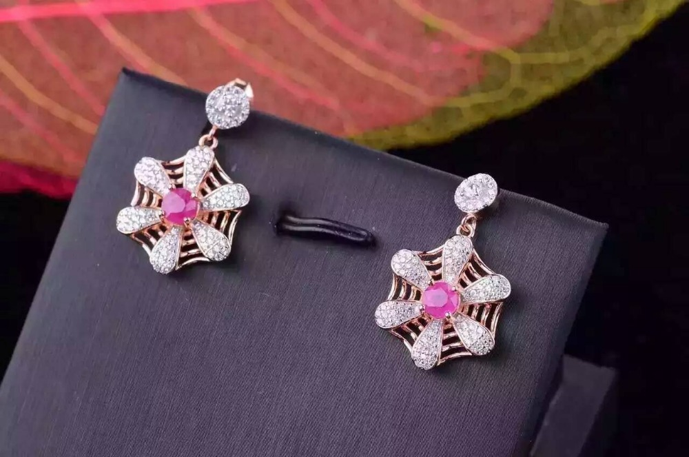 natural ruby stone earrings 925 silver Natural gemstone earring for women personality fashion party windmill Earrings jewelrynatural ruby stone earrings 925 silver Natural gemstone earring for women personality fashion party windmill Earrings jewelry