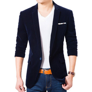 Image 2 - High Quality Royal Blue Velvet Blazer Men 2017 New Autumn Korean Fashion Mens Slim Single Button Blazer Jacket Wedding Blazer