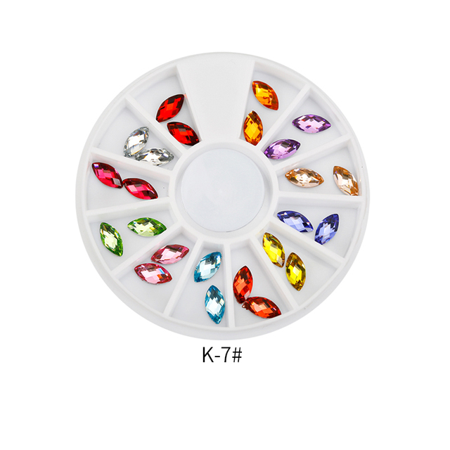 Top Nail 12 Shiny Color Horse Eye Design Acrylic Wheel Glitter