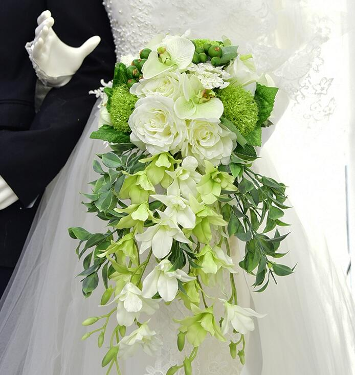 New ! Long Artificial silk rose Phalaenopsis Teardrop shaped holding flowers Waterfall shaped wedding bridal bouquet white green
