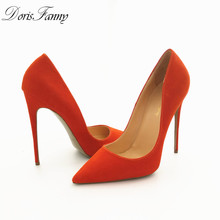 Free Shipping DorisFanny Suede Leather Footwear Women Pumps for Wedding Pointed Orange Sexy High Heels Shoes 12cm stilettos