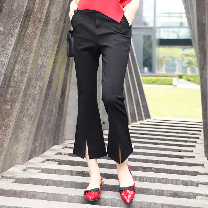 New Fashion Women Pant Casual Black Ankle Length Flare -5903