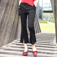 New Fashion Women Pant Casual Black Ankle Length Flare Pants Slim Fit Sweet Ladies Trousers Female ssp015